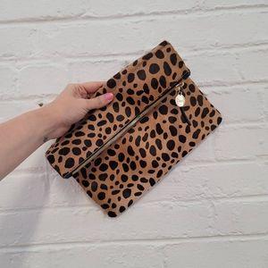 Brand new Clare V leopard clutch